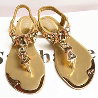 2017 New Women Sandals Gold And White PU Leather Casual Sandals High Quality Artificial Crystal Female