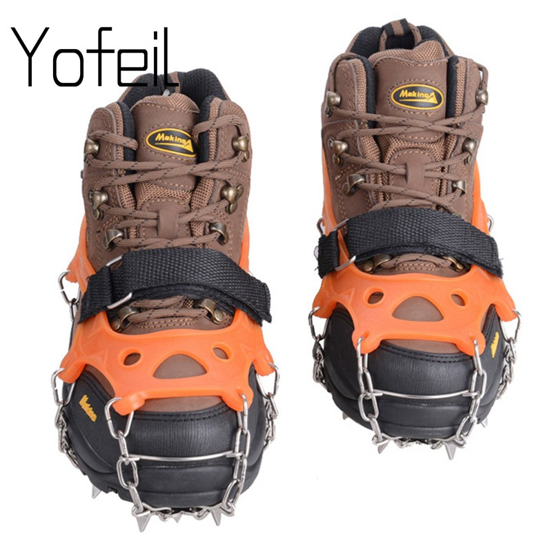 Outdoor 19 Teeth  Claw Traction Anti-Slip Ice Cleats Boots Gripper Chain Spike Shar Snow Walking Climb Shoes Cover Crampons