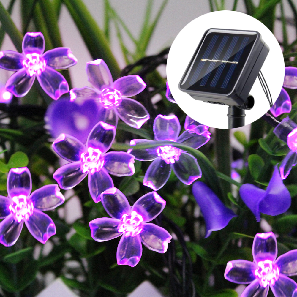 7M Cherry Garland Led String Solar Powered Light Outdoor Lighting 50 Led Fairy Lights For Garden Decoration Waterproof Christmas
