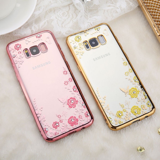 d18f7a85ed DOEES Soft Transparent Diamond Phone Case For Samsung Note 8 Case Silicone  Flower Pattern Cover For Galaxy S8 Plus S7 Edge S6 S5