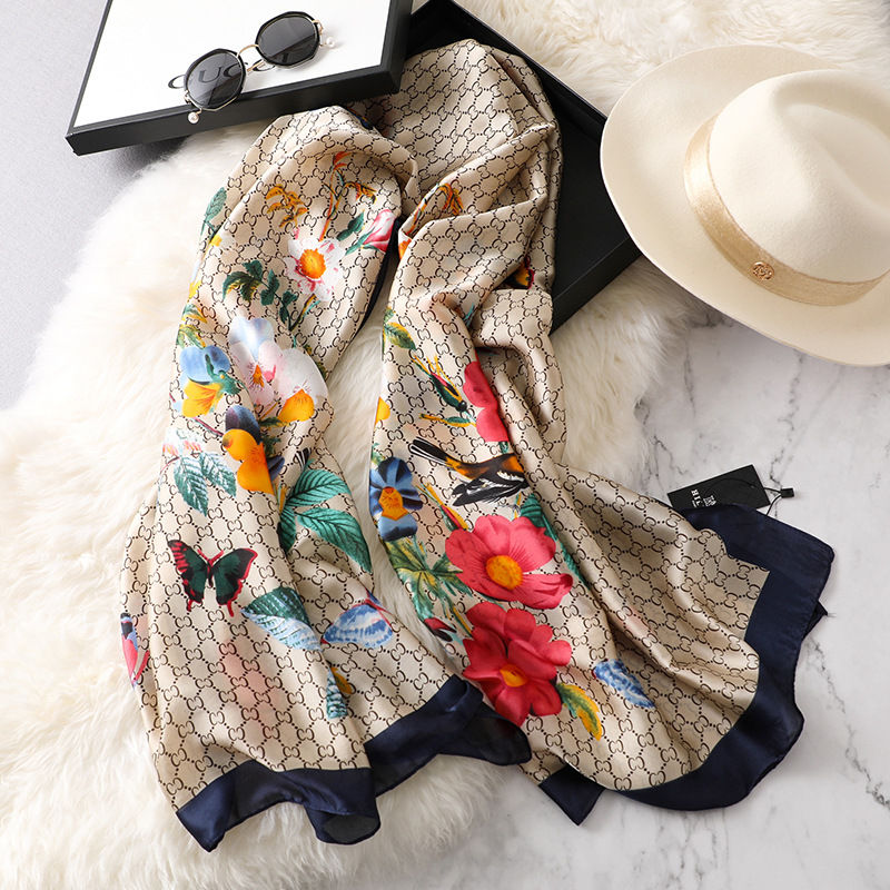 new ladies scarf summer flower pattern silk scarf spring and autumn wild oversized shawl Europe and America wild beach towelWomens Scarves   -