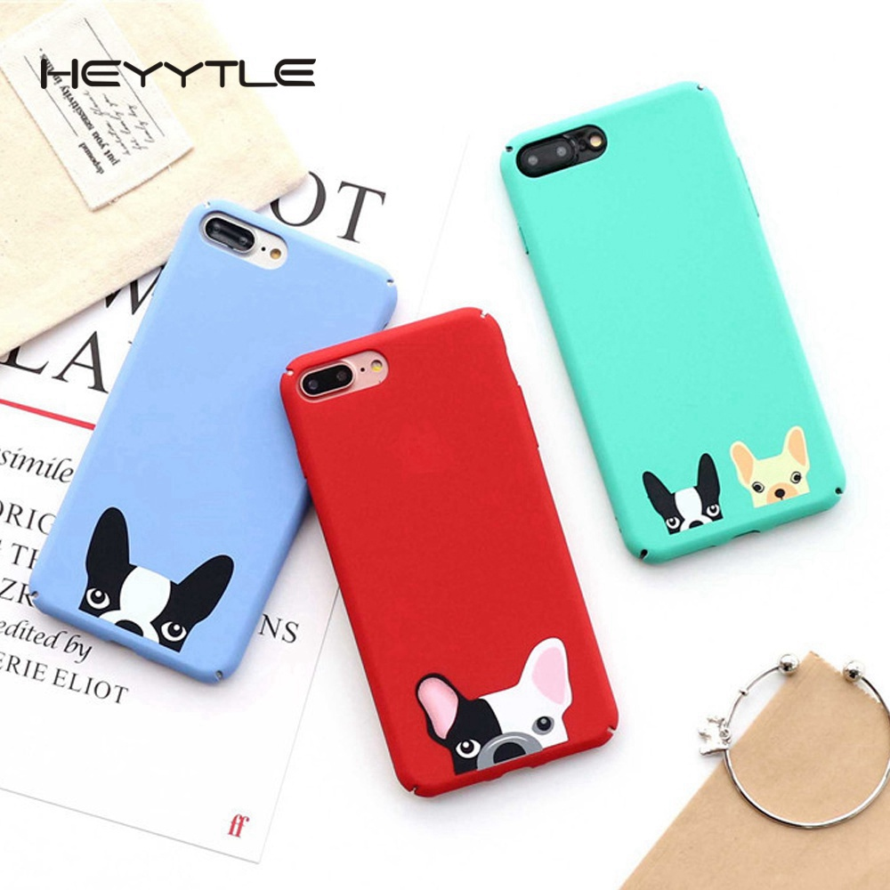 Heyytle Bulldog Dog Phone Case For Apple iPhone 8 7 6S 6 Plus Case Cute Fashion Case Cartoon Frosted Coque Back Hard PC Cover