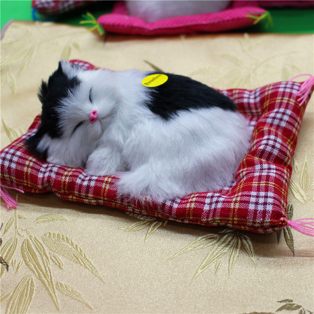 Stuffed Toy Cute Lovely Simulation Animal Plush Doll Sleeping Cats Toy with Sound Kids Toys  Car Furnishing Articles Gift 1pc