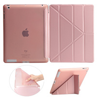 Redlai Ultra Thin Folding PU Leather Smart Cover With TPU Full Soft Back Case For IPad