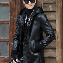 Новое поступление, Мужская зимняя кожаная куртка, высокое качество, мужская куртка с капюшоном из искусственной кожи, приталенное теплое меховое пальто средней длины