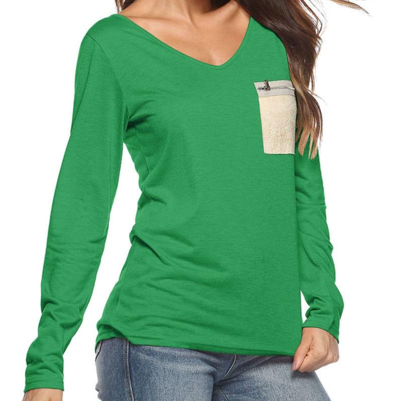 eee669406531b New Long Sleeve V neck Women T Shirt Autumn T Shirts Casual Tops Basic T  shirt Sequin Pockets Zipper Tee Shirts Plus Size GV013-in T-Shirts from  Women s ...