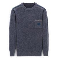 100% кашемировый толстый вязаный мужской Oneck Карманный пуловер свитер сплошной цвет retail розничная продажа оптом