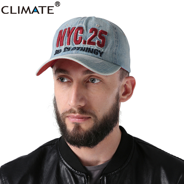 CLIMATE NY New York Men Baseball Cap Men Denim Fashion Caps Sports Hat  Running One Size Adjustable Jeans Wear Hat For Men Women 0bbe62b4fc5