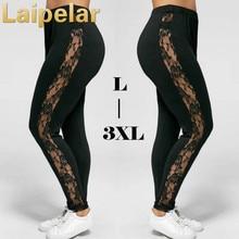 Plus Size Sexy Women Holllow Out Lace Leggings Sexy High Waist Bandage Pants Insert Sheer Leggings Viscose Elastane Laipelar
