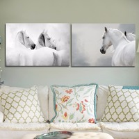 Black White Photography Animal Picture Prints White Horse Modern Wall Art Canvas Painting Home Decor Unframed