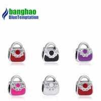 Plata de ley 925 pulsera con forma de bolso para mujer, encanto de cuentas de esmalte DIY, fabricación de joyas, ping ente Berloque ENM015