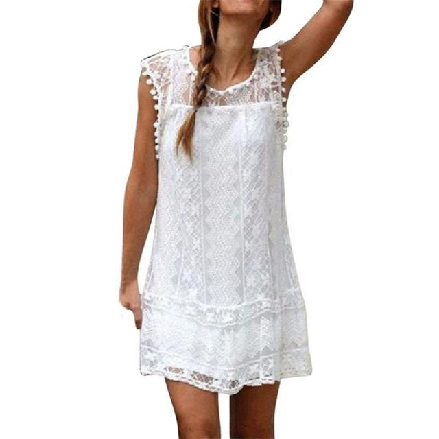 20 Dress Women White Lace Simple Style Casual Sleeveless Summer Beach Mini Dress Solid Party Plus Size Women Dress ropa mujer