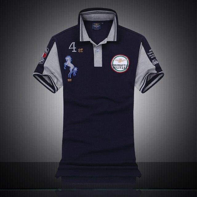 Известный Италия Марка одежды мода polo homme aeronautica militare мужчины polo рубашки вышивка лошадь логотип air force one поло