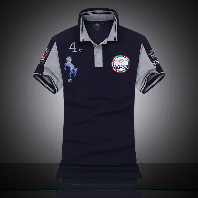 Famous Italy Brand clothing fashion polo homme aeronautica militare men polo shirts embroidery horse logo air force one polos hot racing italy horse logo fxx k