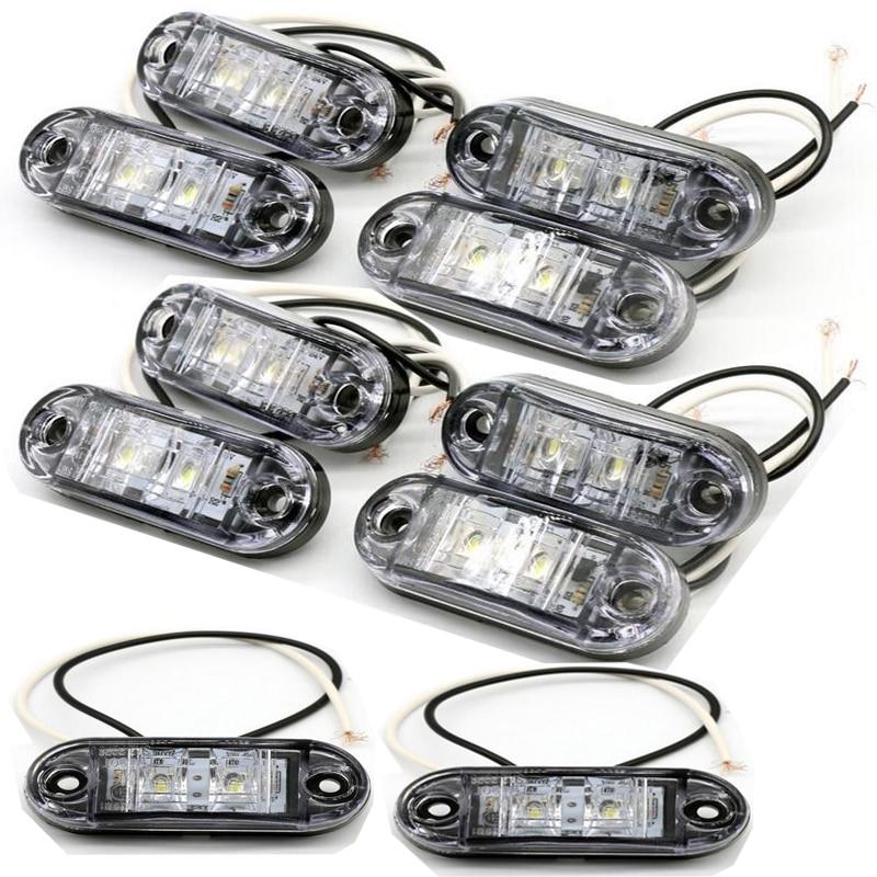 Castaleca Universal 10 Pcs 12V 24V Car Truck Trailer LED Side Marker Blinker Light Bulb Signal Lamp Car-styling Lighting
