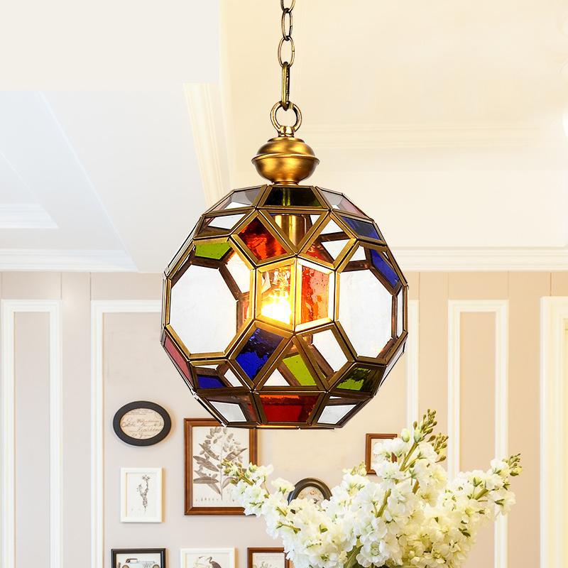 Hallway Porch colorful Pendant Lamp Retro America Style Glass ball Copper Hanging lamp Home Industrial Lighting E27 led Lustres|Pendant Lights| |  - title=