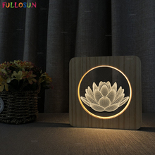 Lotus Flower USB LED 3D Night Lamp Warm Color Nordic Light Christmas Gift Mood Switch Button Table