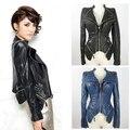 Новый панк заклепки шипованные плеча омывается искусственная кожа тонкая зубчатый с коротким черный синий женская куртка