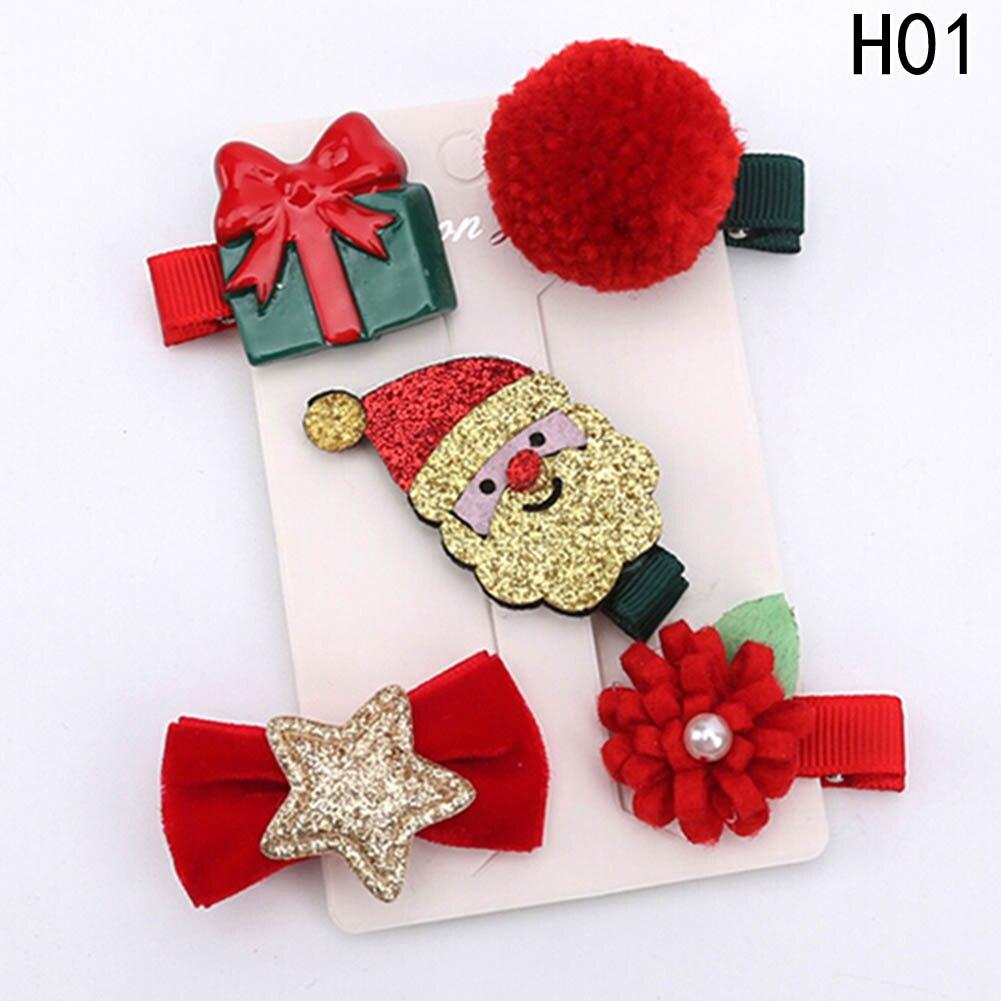 5 PCS /Set New Christmas Hair Clips for Girls Santa Claus Xmas Hairpins Barrettes Gifts Children Hair Accessories