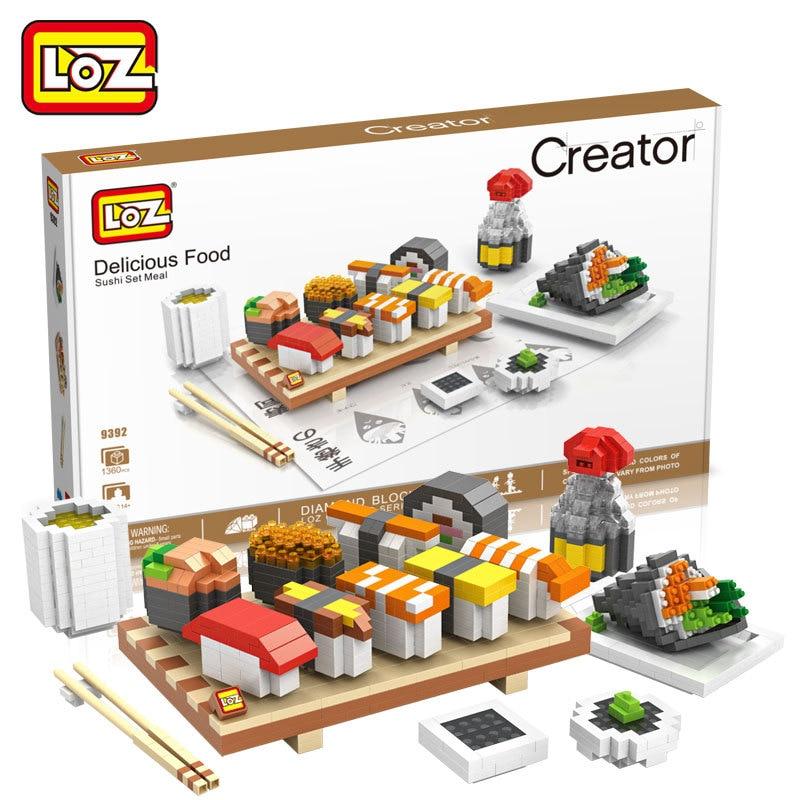 LOZ Diamant Blocs Sushi Ensemble Repas Assemblee Des Aliments Modele Batiment Petites Pieces Briques Miniblocks Jouets pour