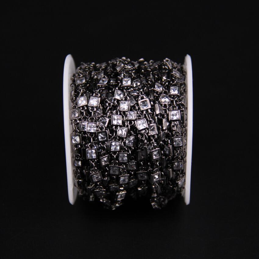 3mm, facetté carré Zircon lien métal chaîne noire, blanc cubique Zircon cristal lunette connecteur chapelet chaîne, CZ pistolet noir boucles d'oreilles - 3