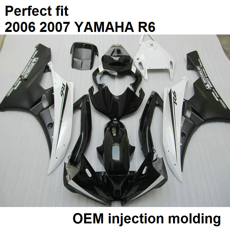 Injection molding free customize fairing kit for Yamaha YZF R6 2006 2007 classic black white fairing set R6 06 07 BN02