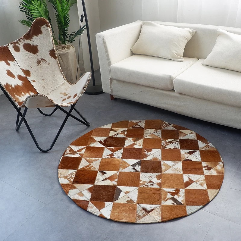 Brown Cowhide Stitching Round Bedroom Carpet Home Decor Creative Geometric Pattern Simple European Style Living Room Rug Rug Aliexpress