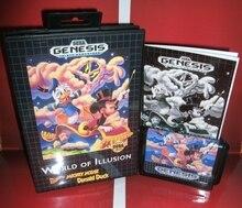 世界のイリュージョン migkey マウスとドナルドダック米国カバーボックスとマニュアルセガメガジェネシスビデオゲームコンソール
