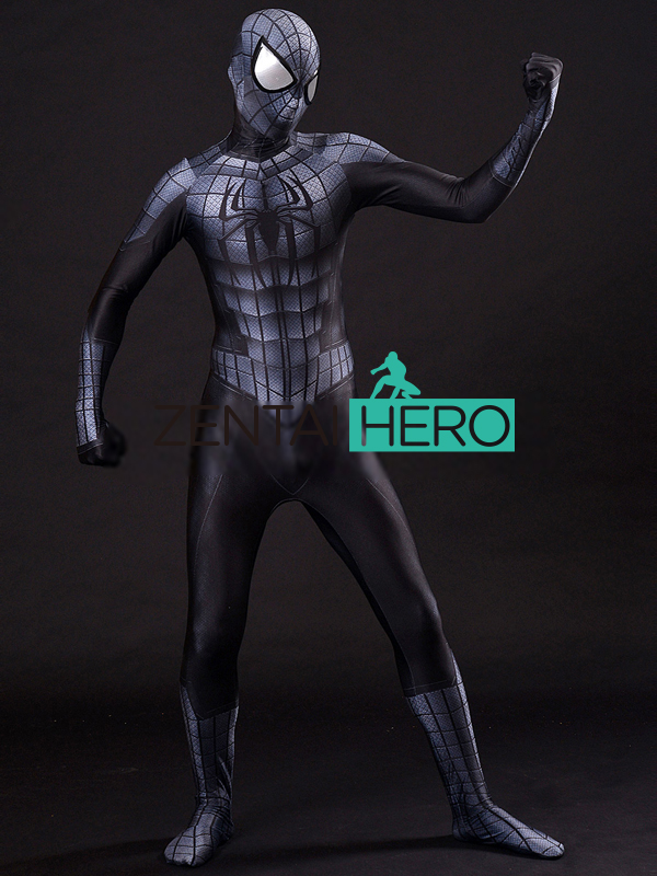 ZentaiHero New 3D Print Black Armour Spider-Man Costume Lycra Armored Spiderman Costume for Halloween Cosplay Party Fancy Dress
