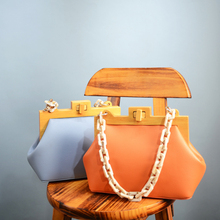 Luxury Acrylic Chain Women's Handbags High Quality Wooden Clip Crossbody Bags fo