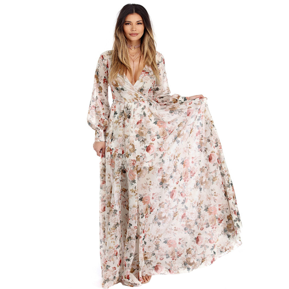 397af59506ec Autumn New Sexy Women Chiffon Maxi Dress Floral Print Deep V Neck Long  Sleeve Slim Belted