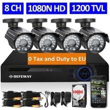 DEFEWAY 1080N 8-КАНАЛЬНЫЙ HDMI DVR 1200TVL 720 P HD Открытый Камеры Безопасности система 1 ТБ Жесткий Диск 8 Канала CCTV DVR Kit AHD Камеры набор
