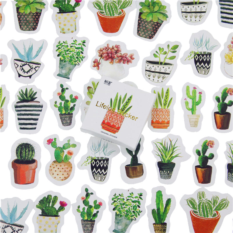 45 Pcs/lot Cute Plant Cactus Mini Paper Sticker Decoration DIY Ablum Diary Scrapbooking Label Sticker Kawaii Stationery