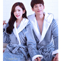 Solid Hooded Bath Robe Women Men Warm Bathrobe Nightdress Coral Fleece Couples Bathrobes Nightgown Dressing Gown Peignoir Femme