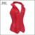 Mujeres sexy red corset bustier de acero de lujo deshuesados atan para arriba detrás de la cintura prendas de vestir exteriores de la pu de cuero corsé clubwear monos