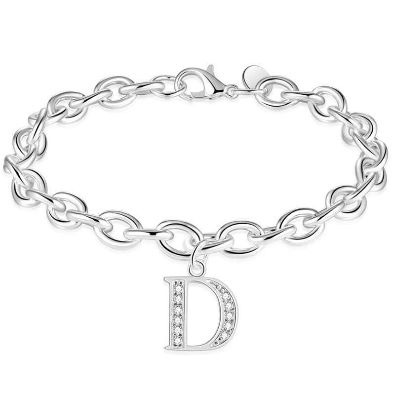 Fashion Silver Color D E Alphabet Letter Bracelet   Bangle For Women Simple  Name Bracelets Pulseras Mujer 5760432ac992