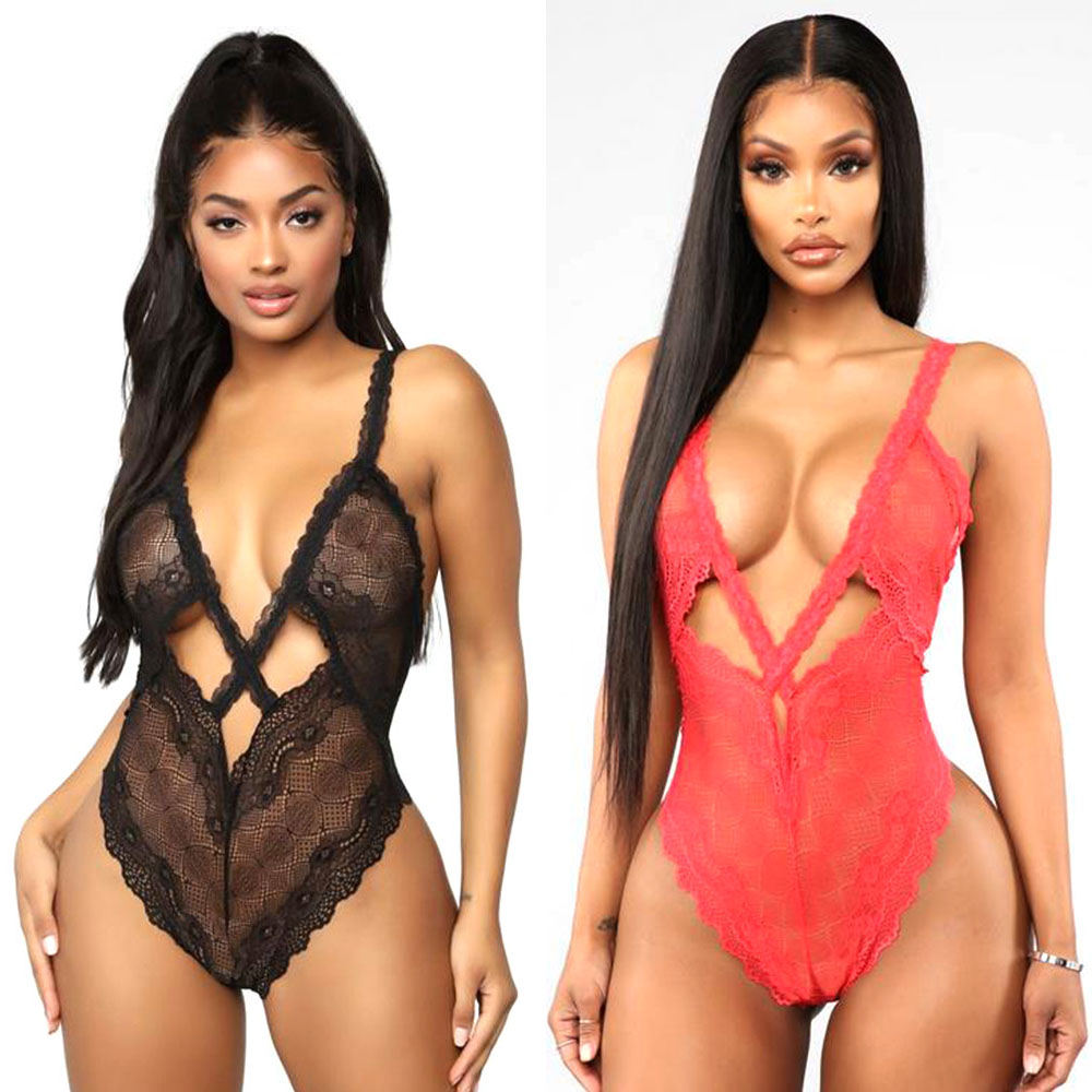 HOT! Women Bodysuits Backless Lingerie Lace V Neck Halter Babydoll Open Crotch Women Sexy Erotic Lingerie Interior Sexy