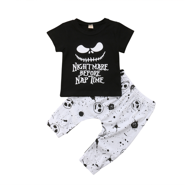 c1352f14cbd9 Newborn Kids Baby Boys Skull Halloween Tops Short Sleeve T shirt ...