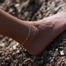 Summer hot New Fashion Foot jewelry alloy mix color handmade sheet anklet gift for Women to beach A-30