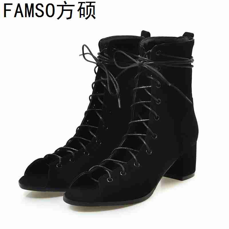 FAMSO 2019 New Arrival Women Sandals Shoes Black Lace-up  Peep toe Retro Style Girl Shoes Summer Brand Gladiator SandalsFAMSO 2019 New Arrival Women Sandals Shoes Black Lace-up  Peep toe Retro Style Girl Shoes Summer Brand Gladiator Sandals