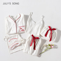 JULY'S SONG White 7 Pieces Pajamas Set Cotton Women Pajamas Suits Long Sleeve Top Elastic Waist Pants Lounge Sleepwear