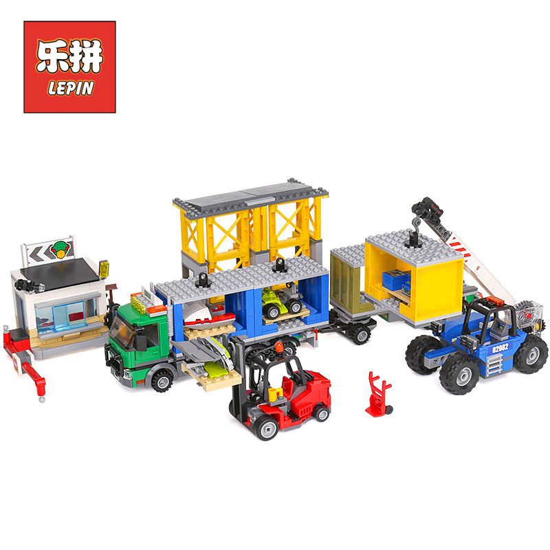 Lepin 02082 City Engineering Cargo Terminal Set Forklifts Model Building Kits Truck Blocks Bricks compatible 60169 Children Toy пазл step puzzle богатыри 1000 элементов 79209