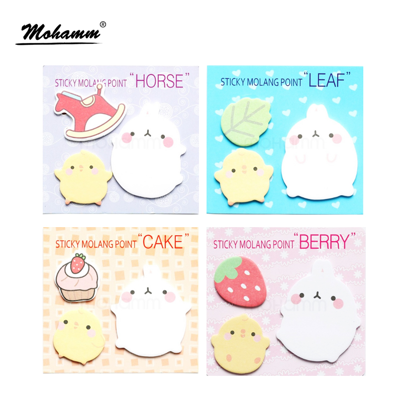2 Pcs/lot Kawaii Cute Planner Korean Rabbit Animal Sticky Notes Memo Pad Flake Sticker  Offce School Supplies Stationery