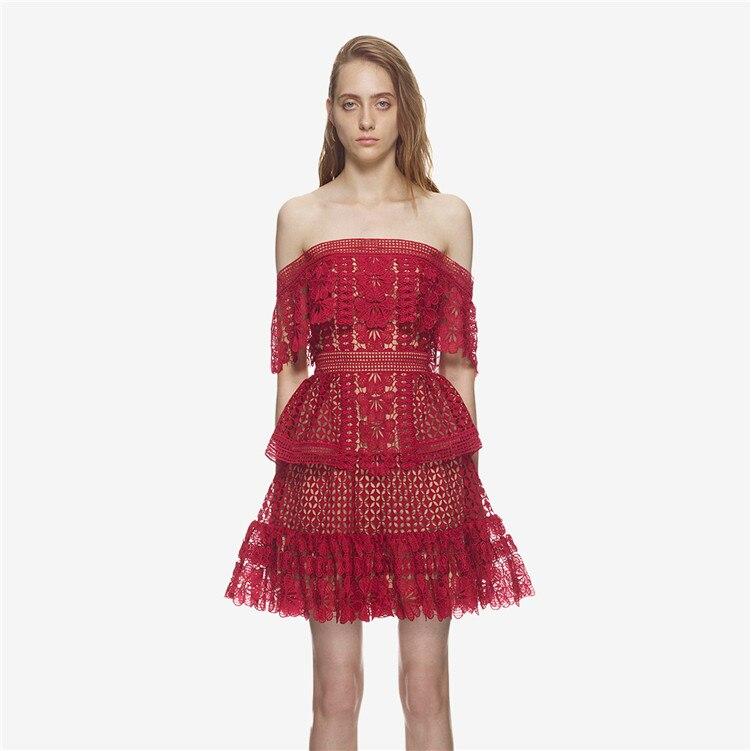 Nouveau SP avec été un mot led hors la épaule épissage falbala F0438 évider robe rouge - 2