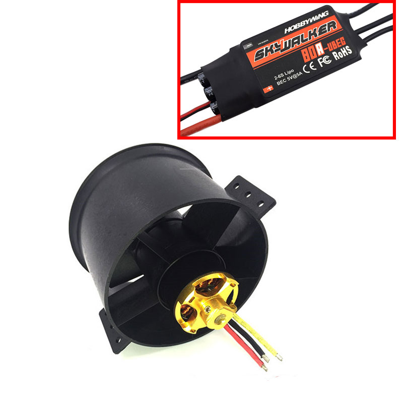 QX MOTOR 90mm 6 Blades Ducted Fan EDF Unit With 3530 KV1750 Motor and 80A ESC