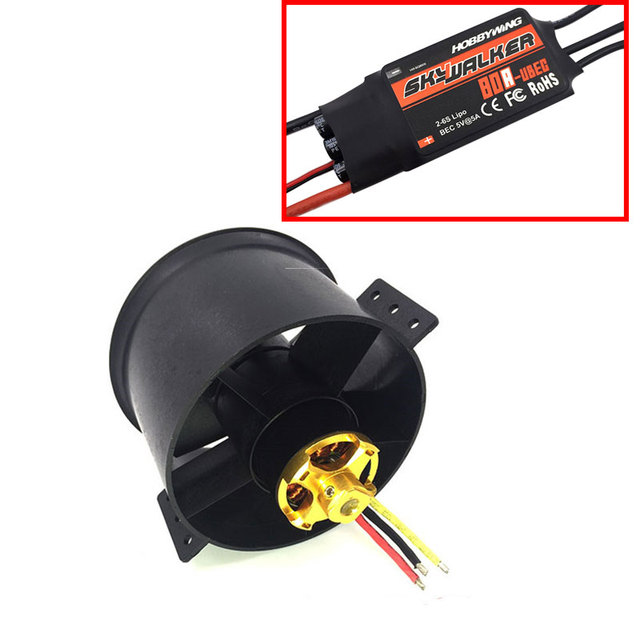 QX-MOTOR 90mm 6 Blades Ducted Fan EDF Unit With 3530 KV1750 Motor and 80A ESC For RC Airplane Model Plane Parts