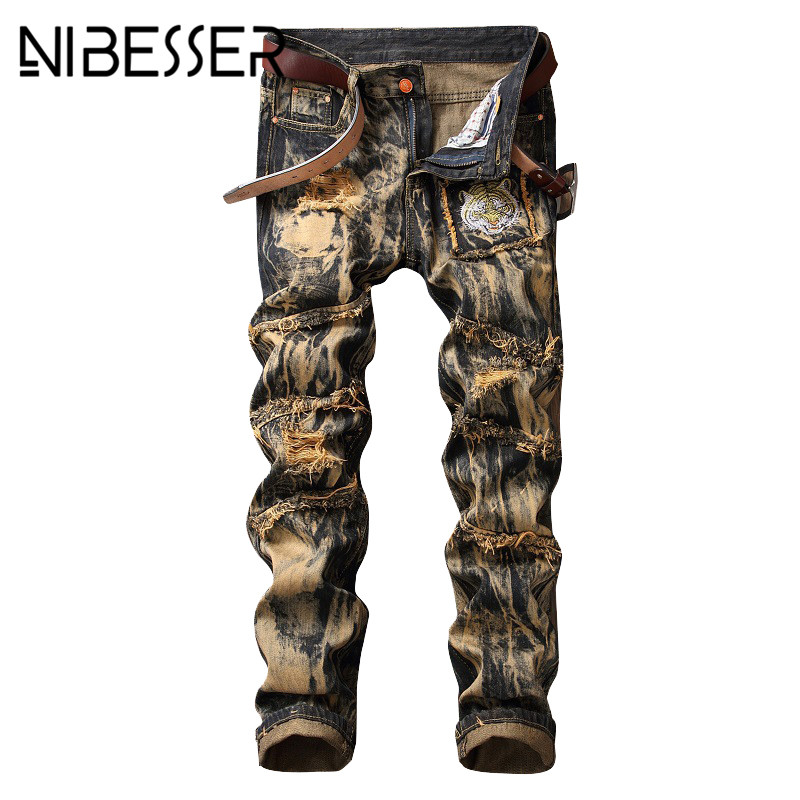 NIBESSER Mens Jeans 2017 Autumn Winter New Ripped Holes Pants Hip Hop Style Casual Trousers Fashion Straight Men Denim Pants