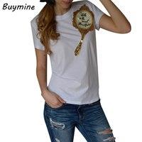 2017 Sequin Mirror Printed T Shirt Women New Summer Tops Tees Women Harajuku Kawaii T Shirt