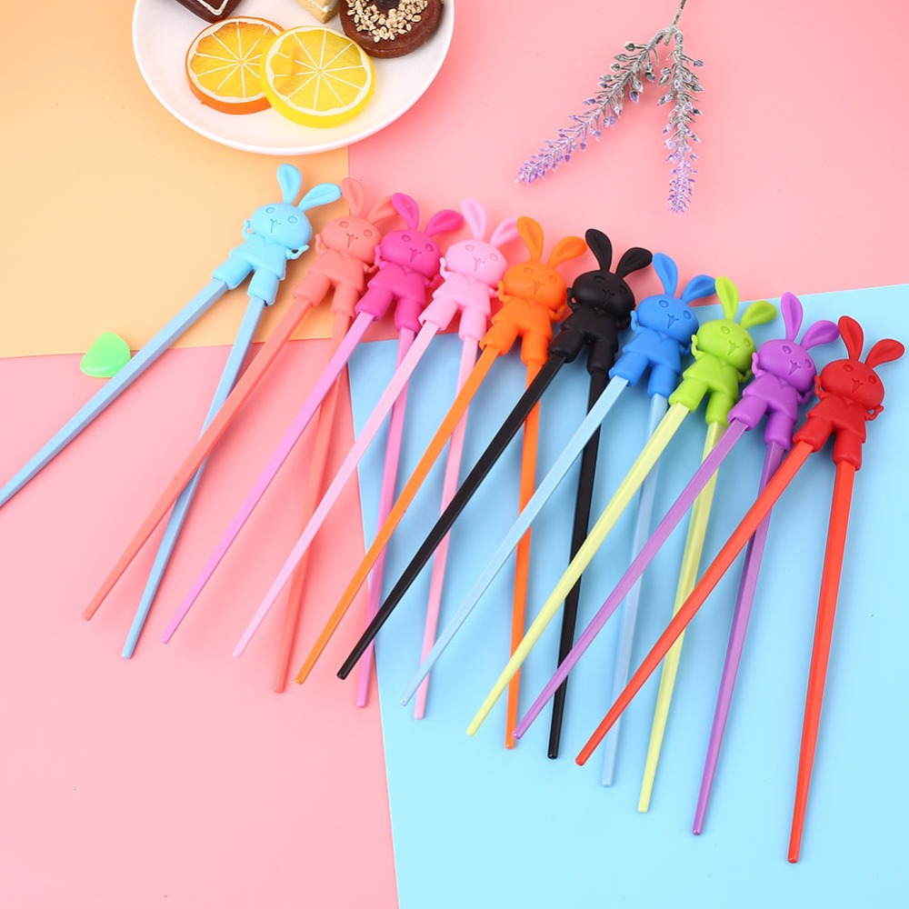 Multicolor 1 Pair Children Learning Chopsticks Creative Cartoon Rabbit Food Grade Chinese Chopstick Learner Gifts image