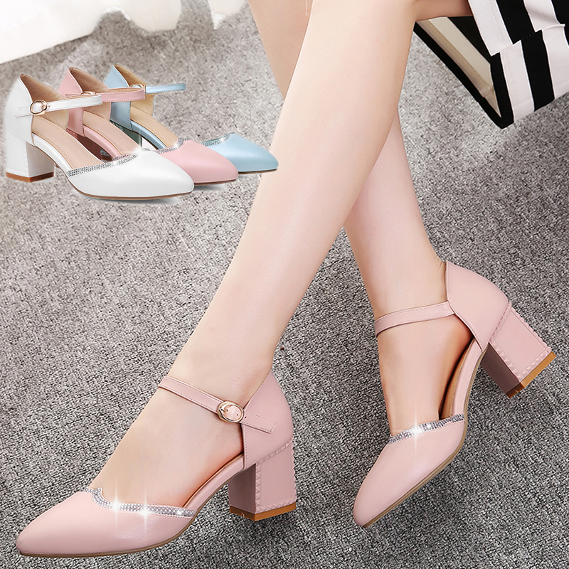 ФОТО Spring And Summer Pointed Toe Thick Heel Single Shoes Female Hasp Rhinestone Toe Cap Covering Sandals Bridesmaid Shoes